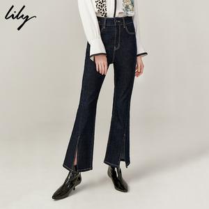 Lily2019秋新款<span class=H>女装</span>复古修身个性开叉喇叭裤休闲牛仔长裤女5914