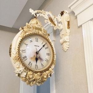 石英钟客厅双面挂钟欧式大气艺术钟表创意家用大<span class=H>挂表</span>时尚个性时钟
