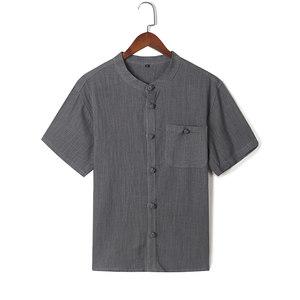 男士唐装亚麻短袖<span class=H>衬衫</span>中老年宽松休闲薄棉麻T恤中式立领大码上衣