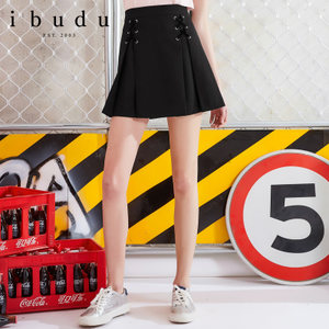 伊布都ibudu2018夏装新品 A字半身裙<span class=H>绑带</span>高腰百搭<span class=H>短裙</span>E823631Q20
