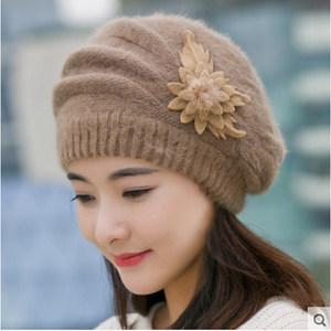冬天帽子加厚妈妈<span class=H>毛线帽</span>中年女士针织帽青年兔毛韩时尚护耳月子帽