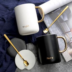ins北欧早餐牛奶<span class=H>杯子</span>陶瓷马克杯创意咖啡杯带盖勺情侣一对茶水杯