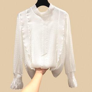 2019春装新款蕾丝拼接雪纺衫女宽松气质小衫洋气打底衫褶皱衬衫