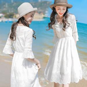 度假长裙沙滩裙女夏季2019新款裙子雪纺连<span class=H>衣裙</span>渡假海边裙