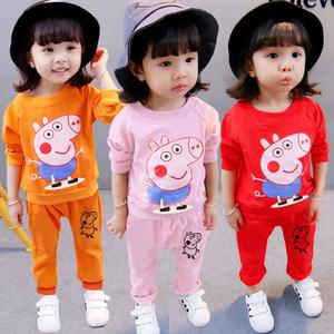 可爱小猪新款童装儿童套装女童秋装长袖套装男童女宝宝衣服两件套