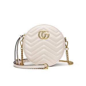 包包女2019新款<span class=H>斜挎包</span>Marmont圆饼包CG迷你波浪纹mini链条包小包