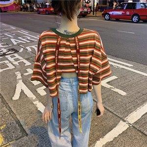 2019夏季新款韩版后背字母织带露腰短款宽松短袖<span class=H>T恤</span>学生上衣女