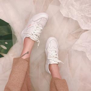 张小笨断码广州鞋不退换头层牛皮圆头系带低帮小白鞋休闲鞋<span class=H>女鞋</span>子