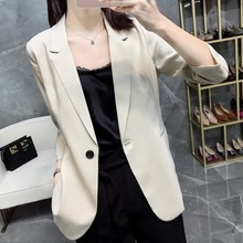 Nineteen Years New Handsome, Simple Commuting Temperament Star Moonlight A Button Seven-Sleeve Small Suit Jacket Suit Woman