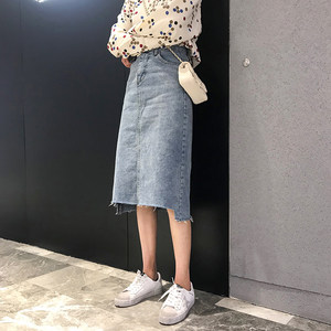 【柚子美衣】2019春款复古前缺口牛仔半身裙女韩版高腰显瘦中长裙