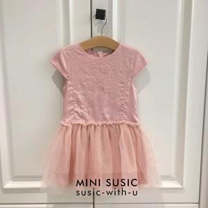 3-12岁MINISUSIC法国公主女童粉色纯棉亮片网纱拼接<span class=H>连衣裙</span>