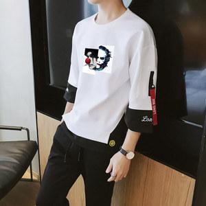 ins春夏季男士短袖<span class=H>t恤</span>韩版潮流宽松卫衣长袖半截中袖七分袖套装