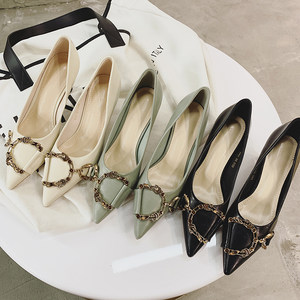 水晶家女鞋2019春季新款尖头水钻扣<span class=H>高跟鞋</span>时尚粗跟高跟单鞋女显瘦