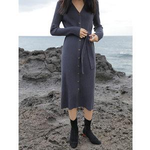 南北STUDIO19春季新款韩国绑带单排扣包身针织<span class=H>开衫</span>两用长裙连衣裙