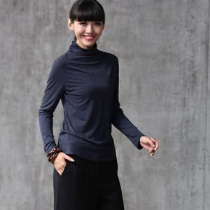 莫代尔女春秋款上衣秋装新款中长款长袖打底薄款T恤衫