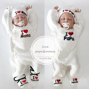 出口日本嬰兒連體衣保暖空氣棉新生兒蝴蝶衣寶寶秋冬我愛爸爸媽媽