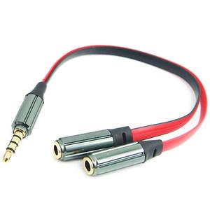 4<span class=H>芯</span>线DC3.5mm耳机一分二情侣音频分叉线 彩色面条4段式一转二线