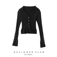 MMC studio retro single-row button black bottom shirt, Navy wind V-neck knitted sweater cardigan, slim and slim