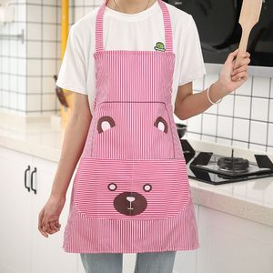 小熊印花布艺挂脖系带<span class=H>围裙</span> 家务清洁用具防污围兜 男女士厨房围腰