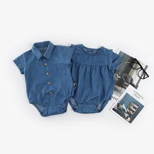 四个月男宝宝衣服夏装纯棉男女孩包屁短袖连体牛仔哈衣韩版4-12月