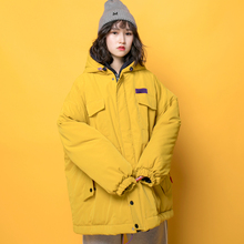Guochao hip hop overcoat winter 2019 new oversize loose short cotton clothes BF student cotton clothes