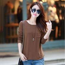Spring Long Sleeve T-shirt, Loose Bottom Shirt, Korean Version, 100 Sets of Pure Colors and Large Size Women's Wear, New Trendy Cotton Blouse, 2019