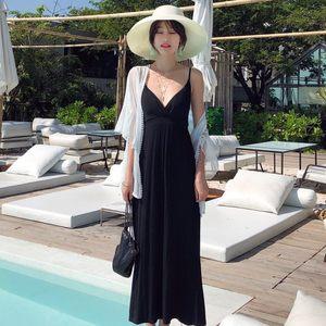 泰国海边度假冷淡风<span class=H>吊带</span>连衣裙女夏2019新款显瘦莫代尔沙滩长裙仙