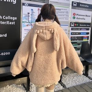 秋冬<span class=H>女装</span>韩版可爱兔耳朵连帽系带毛球宽松拉链<span class=H>卫衣</span>毛绒绒外套上衣