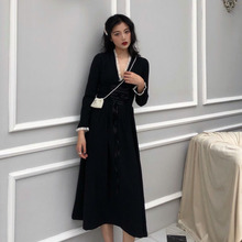 French retro black dress temperament Heben skirt corset fungus dress female spring 2019 new long skirt tide