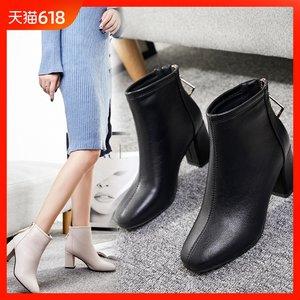 小跟短靴春秋季2018新款粗跟冬款加绒女鞋<span class=H>裸靴</span>高跟网红女靴马丁靴