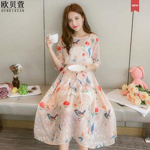 <span class=H>连衣裙</span>夏季2019新款女装韩版显瘦印花雪纺收腰超仙温柔风中长裙子
