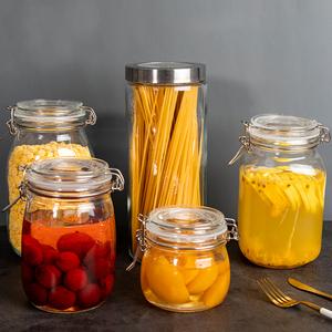 聚可爱 透明玻璃<span class=H>密封罐</span>杂粮<span class=H>储物罐</span>可叠加玻璃罐子厨房收纳瓶罐