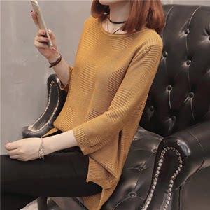 镂空中袖针织衫T恤套头秋装女2018新款韩版短款宽松薄毛衣外套女