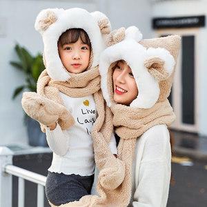 秋冬季亲子男女儿童帽子围巾<span class=H>手套</span>三件套装一体宝宝加厚围脖套头帽