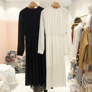 韩国ulzzang2019春装新款圆领收腰显瘦中<span class=H>长裙</span>纯色百搭时尚连衣裙