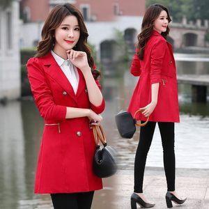 专柜中年高端气质女装<span class=H>风衣</span>显瘦收腰中长款西装领纯色外套高档专柜