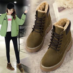 2018冬新款平底<span class=H>雪地靴</span>加绒女短靴马丁靴英伦风学生保暖大棉鞋厚底