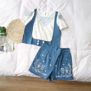 天使女装泰国潮牌短袖镂空假两件套高腰显瘦牛仔短裤套装50778