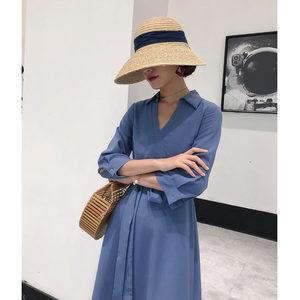 浅蓝色衬衫领七分袖裙子女夏V领系带显瘦极简A字中长款连衣裙女