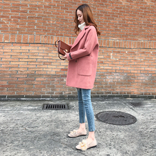 Long and medium-sized overcoat, Korean spring and autumn new small woolen jacket, loose Hepburn woolen overcoat, 2019