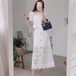 蕾絲套裝女兩件套夏季名媛時尚<span class=H>女裝</span>短袖上衣修身包臀<span class=H>半身裙</span>中長款