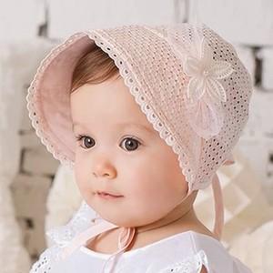 春夏季婴儿帽子0-3宫廷幼儿遮<span class=H>太阳帽</span>6-12个月新生公主女宝宝胎帽