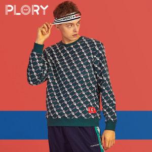 PLORY春夏新款POP男生撞色字母贴布特色圆领<span class=H>卫衣</span>POMW88V019
