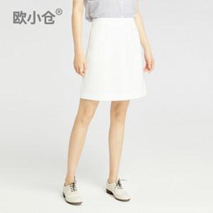 OXC/欧小仓白色半身裙夏 韩版a字裙短裙高腰 ins超火半截裙迷你裙