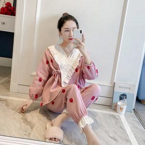 <span class=H>睡衣</span>女春秋可爱日式全棉系带和服甜美印花草莓纯棉清新<span class=H>睡衣</span>两件套
