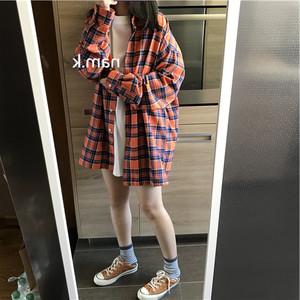 nam.k韩国<span class=H>女装</span> 暖暖的美美的橘橘格子oversize<span class=H>衬衫</span>