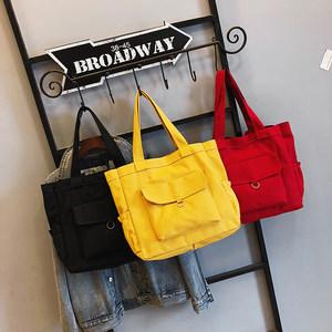 包包女2019新款大容量时尚单肩帆布包简约手提女包纯色托特包大包