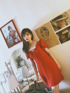 vintage少女风复古花苞袖红色纯色浅蓝色波点修身显瘦仙女连衣裙