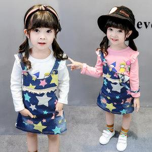 0-4岁女宝宝漂亮春装1婴幼儿小童装套装2女孩子牛仔<span class=H>背带裙</span>3纯棉T