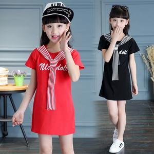 女童装夏季红白色<span class=H>连衣裙</span>少儿童<span class=H>休闲</span><span class=H>运动</span>裙子小女孩纯棉网球衣<span class=H>服装</span>